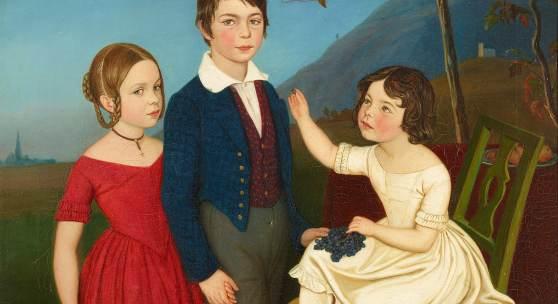 Friedrich Wasmann, Paul, Maria und Filomena von Putzer, 1840. Öl auf Leinwand, 37 x 49 cm. Staatliche Museen zu Berlin, Nationalgalerie. Foto: Andres Kilger