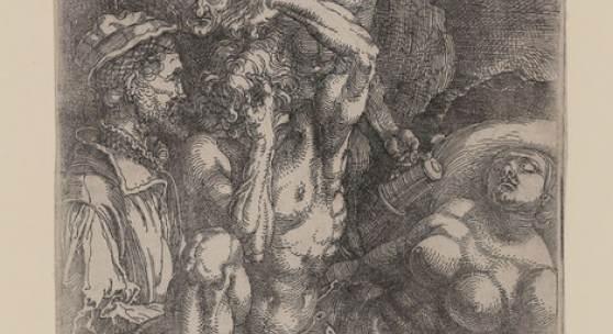 Albrecht Dürer, Studienblatt mit fünf Figuren (Der Verzweifelnde), ca. 1515, Eisenradierung, Inv.nr. 1160, Bartsch 70 – Graphisches Kabinett, Wallraf-Richartz-Museum
