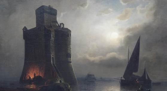"""Julius Köhnholz(1839-1925) """"Leuchtturm im Mondschein"""",Öl auf Leinwand,signiert,ca.107,5 x 134cm"""