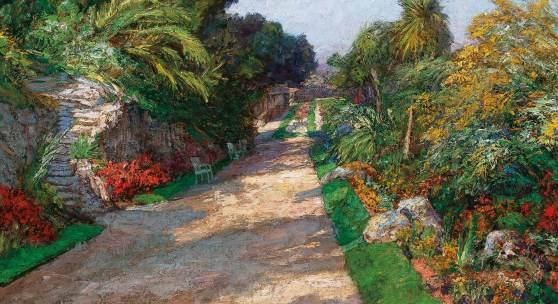 Olga Wisinger-Florian (Wien 1844–1926 Grafenegg) Gartenweg des Riviera Palace Hotels bei Monte Carlo, 1906, signiert Wisinger-Florian, Öl auf Karton, 50 x 71 cm, erzielter Preis € 137.500