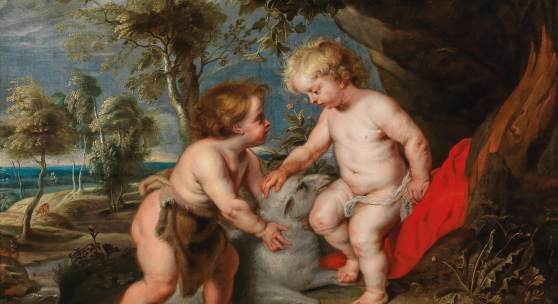 """Peter Paul Rubens Werkstatt (Siegen 1577–1640 Antwerpen) Der """"Spinola-Rubens"""": Das Jesuskind und der Johannesknabe, Öl auf Leinwand, 112 x 149,5 cm, erzielter Preis € 873.300"""
