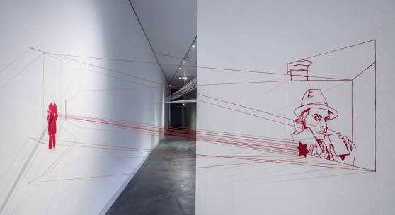 Ausstellungsansicht: Brigitte Waldach: Existenz / Neue Raumzeichnung (c) Gerhard Kassner