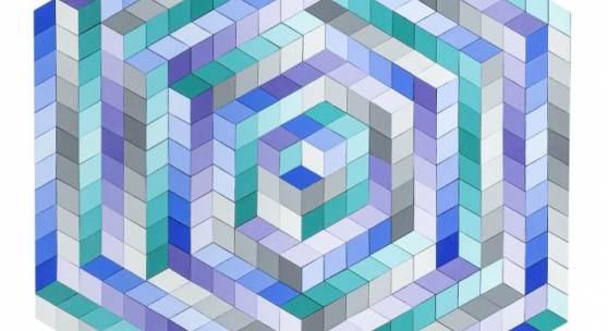Lot-Nr: 202 Vasarely, Victor (1906 - 1997) Titel: Geometrische sechseckige Komposition, ca. 1990 Schätzpreis: 38000 - 50000,- Euro Rufpreis: 19000,- Euro