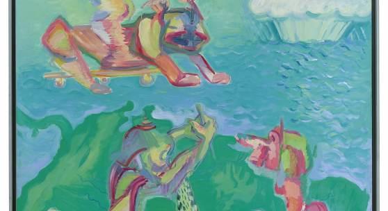 Maria Lassnig (1919-2014) Wilde Tiere sind gefährdet, 1980, Öl auf Leinwand, 306 x 200 cm, Schätzwert € 600.000 - 800.000