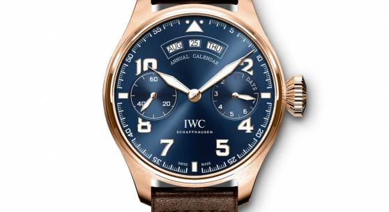 "The Big Pilot's Watch Annual Calendar Edition ""Le Petit Prince"" (Ref. IW502704) is the first and so far the only watch in the history of IWC with a blue movement. .The manufacturing process required to make it has taken around 1.5 years to develop and refine. To give the IWC-manufactured 52850 calibre its striking blue colour, the plates and bridges have been coated with various metal oxides. (PPR/IWC)"