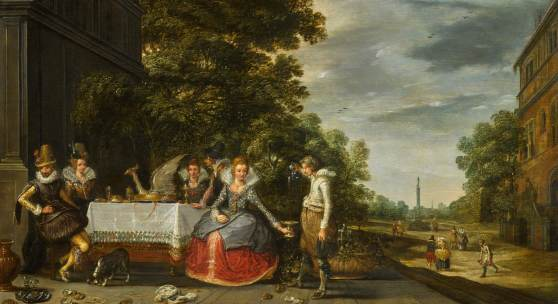 23. Adam van Breen, An elegant company banqueting on a terrace, est. £60,000-80,000. Credit Sotheby's