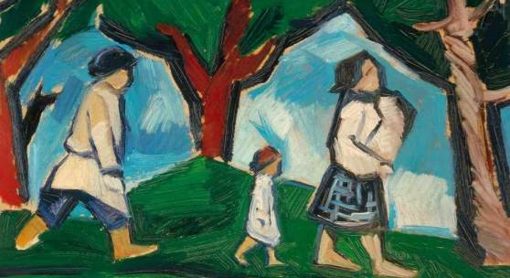 Goncharova, Natalija (Tula 1881–1962 Paris) Promenade au bord de l'eau. 1910-11. Öl auf Karton. Unten rechts kyrillisch monogrammiert. 35x33,5 cm.  Schätzpreis:30.000 - 50.000 CHF