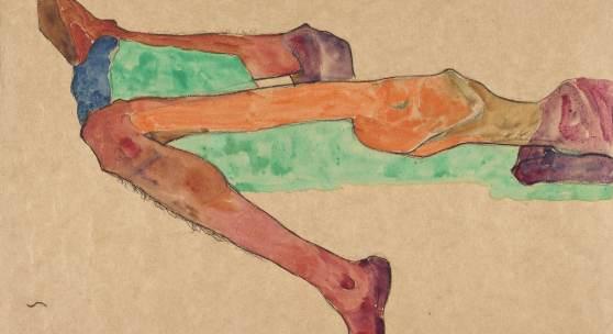 Egon Schiele, Liegender männlicher Akt, 1910, Aquarell und Bleistift auf Papier, 310 x 430 mm
