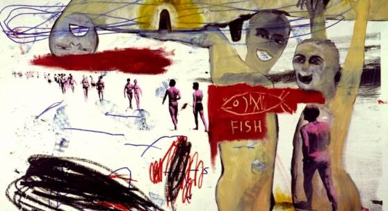 Jean-Michel Basquiat, Francesco Clemente & Andy Warhol Cilindrone, 1984 Acrylic, silkscreen, oil crayon and marker on canvas. 122 x 168 cm  © The estate of Jean-Michel Basquiat/ DACS, London 2017.  © The Andy Warhol Foundation for the Visual Arts, Inc./ DACS, London 210 .