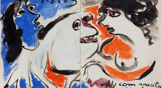 Ivan Jaroslaw Serpan, Ohne Titel, 1.August 1963, Lithografie mit Gouache Koloriert © VG Bild-Kunst, Bonn 2015