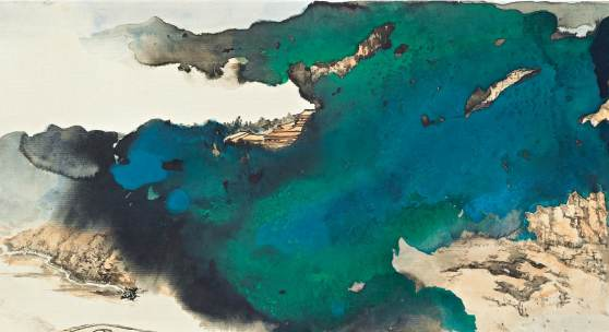 Zhang Daqian (Chang Dai-chien) 1899-1983 BRIDGE TO MOUNTAIN TEMPLE SHROUDED BY PRISMATIC CLOUDS IN SPLASHED COLOR Estimate  220,000 — 280,000 USD