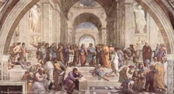 "Raffael  stanza della segnatura (Die Schule von Athen) Renaissance   Das Gemälde ""stanza della segnatura, die Schule von Athen"" von ""Raffael"" als hochwertige, handgemalte Ölgemälde-Replikation."