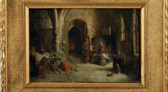"""KatalogNr: 963 Francois-Adolphe Grison (1845-1914), Öl/ Lw., sign. Grison, """"Zwei Mönche im Gewölbe"""", rücks. bez. """"Le Cellier des bons Pères hapitaliens"""", 20x29cm, gerahmt (33x43cm), craqueliert, Fehlstellen am Rand, Rahmen mit Fehlstellen"""
