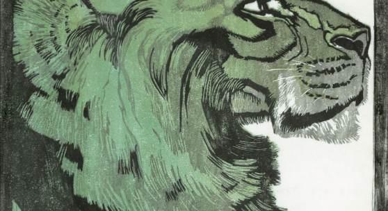"""L. H. Jungnickel, Löwenkopf aus der Serie """"Schönbrunner Tiertypen"""", 1909 Farbholzschnitt, rechts unten datiert und signiert: Klagenfurt 20.IX.21 / L.H.JUNGNICKEL"""