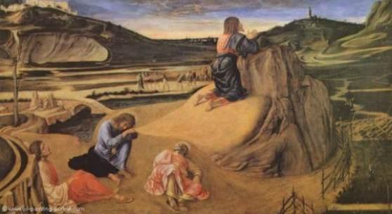 "Bellini, Giovanni  Christus am Oelberg Renaissance   Das Gemälde ""Christus am Ölberg"" von Giovanni Bellini als hochwertige, handgemalte Ölgemälde-Replikation. Originalformat: 81 x 127 cm"