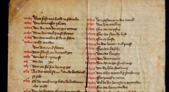 Handschrift auf Pergament. Deutschland, Mitte 15. Jhdt. Zus. ca. 17 x 26,5 cm. Zweispaltig. Spaltenbreite ca. 10 cm. Schätzp  €400
