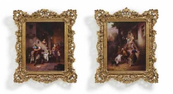 Paar großer Porzellangemälde mit Wirtshausszenen, 1852, Kaiserliche Porzellanmanufaktur Sankt Petersburg. Quelle: VAN HAM Kunstauktionen