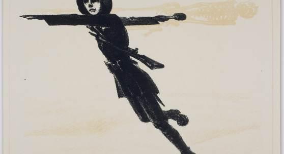 Andreas Gering, Die Handgranate, 1916 oder 1917 Farblithografie (Kreide) von drei Steinen auf chamoisfarbenem Velin 39,4 x 56,1 cm (Blatt), 23,7 x 32,6 cm (Einfassungslinie) Abbildung: © LETTER Stiftung, Köln