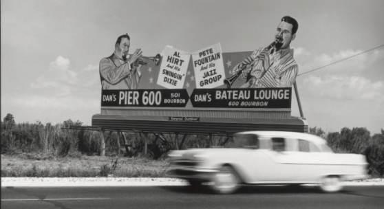 William Claxton Al Hirt & Pete Fountain, Billboard sign, near New Orleans 1960_copyright William Claxton courtesy Galerie Bene Taschen