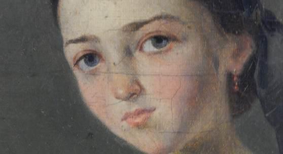 """Mädchenportrait"",Öl auf Holz,signiert Jean de Luz,datiert 1860"