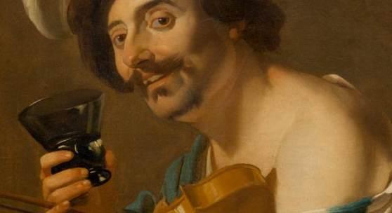 Lot 3037 - A182 Gemälde Alter Meister  BABUREN, DIRCK VAN  (um 1594 Utrecht 1624)  Violinenspieler mit Weinglas. 1623.  Öl auf Leinwand.  Verkauft für CHF 500 000 (exkl. Aufgeld)