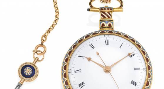 William Ilbery  Taschenuhr | London | Um 1800 | Gold, Email mit Diamant-Rosen | Ø 58mm Taxe: 12.000 – 15.000 €
