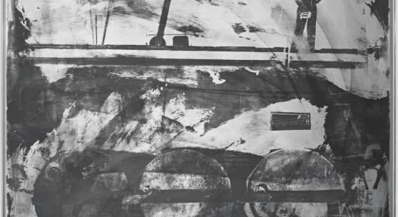 Robert Rauschenberg, Drums (Night Shade), 1991. Tarnish and silkscreen ink on brushed aluminum. 121,9 x 91,2 cm (48 x 35.875 in). © Robert Rauschenberg Foundation/Licensed by Adagp, Paris, 2020.