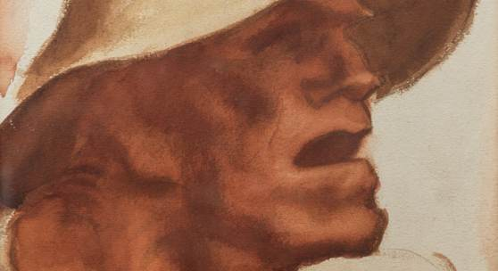 "61 Albin Egger-Lienz Der erste Bauer aus ""Totentanz"", um 1920/23 Aquarell, Bleistift, 33,5 x 28,5 cm Signiert Bibl.: Kirschl Z 561; Totentanz. Egger-Lienz und der Krieg, Ausstellungskatalog  Belvedere/Wien, Schloss Bruck/Lienz, Wien 2014, Kat.-Nr. 40 mit Abb. S. 136 Il primo contadino da ""Danza macabra"", 1920/23 ca. Acquerello, matita, 33,5 x 28,5 cm Firmato Bibl.: Kirschl Z 561; Totentanz. Egger-Lienz und der Krieg, catalogo mostra  Belvedere/Vie"