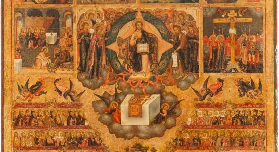 BEDEUTENDE, MONUMENTALE WOCHEN-IKONE, Zentral-russland, Palech, 2. Hälfte 18. Jh., Laubholz-Bretter mit zwei Rückseiten-Sponki. Eitempera auf Kreidegrund, Hintergrund vergoldet. 85,3 x 74,5 cm. Erlös 75.000,- €.