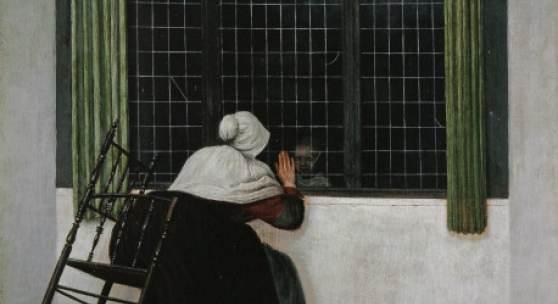 JACOBUS VREL, FRAU AM FENSTER, EINEM MÄDCHEN ZUWINKEND  Holz, 45,7 x 39,2 cm  Paris, Fondation Custodia, Collection Frits Lugt (Inv. 174)  © Fondation Custodia, Sammlung Frits Lugt, Paris