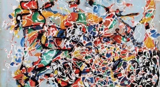 Oswald Oberhuber (Meran 1931 - 2020 Wien) Ohne Titel, 1954, Lack und Öl auf Hartfaser, 22,8 x 31 cm, signiert und datiert Foto: Galerie Kovacek & Zetter