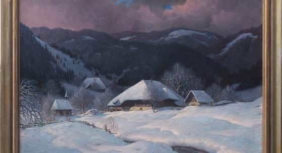 Hauptmann, Karl, 1880 - 1947 Verschneites Schwarzwaldtal, im Vordergrund ein mächtiges Bauernhaus mit Nebengebäude und Kapelle.  Ausrufpreis: € 4500,-