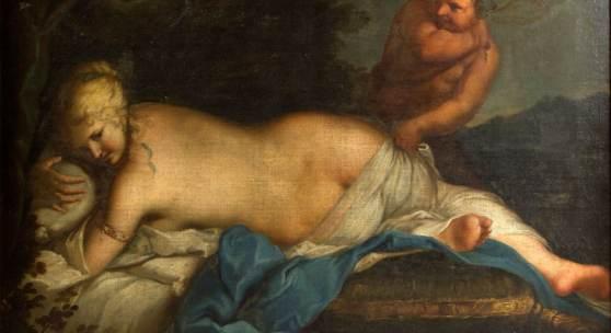 Frankreich, 18. Jh. Weiblicher Akt mit Bacchus. Öl/Lwd., doubliert. 100 x 131,5 cm. Gerahmt. Zuschlag: 30.000 €