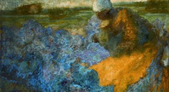 Johan Thorn Prikker Frau auf dem Feld / Koolland G1, 1891 Gemälde Öl auf Leinwand 90x 149 x 4 cm © Kunstmuseen Krefeld