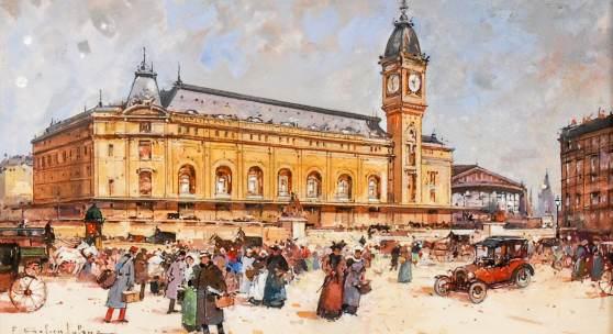 Eugène Galien-Laloue: Vor dem Gare de Lyon in Paris