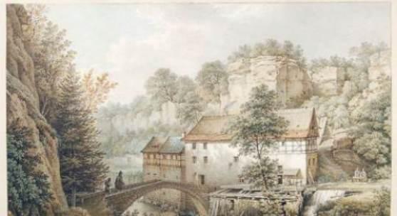 Christian Gottlob Hammer, Die Lochmühle im Liebethaler Grund. Wohl 1857.  Aquarell über Federzeichnung in Tusche und Bleistift.