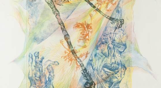 BERNARD SCHULTZE (1915- 2005), 'Innerer Monolog', Farbradierung (darüber handkoloriert) auf festem Papier. 42 x 30,5 cm