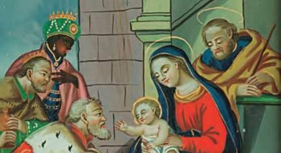 Die Anbetung der Könige, Hinterglasmalerei