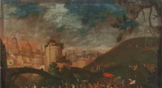 Niederländische oder deutsche Schule, Kreuztragung Christi. 2. H. 16. Jh. 75 x 88 cm; Ra. 93,8 x 109 cm. 7800 €