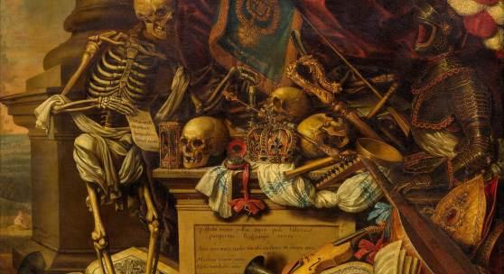 LUYCKX, CARSTIAN  (1623 Antwerpen um 1677)  Memento Mori Stillleben mit Musikinstrumenten, Büchern, Noten, Skelett, Schädel und Rüstung.  Öl auf Leinwand.  73,5 x 92,5 cm.  CHF 30 000 / 40 000 | (€ 25 000 / 33 330)
