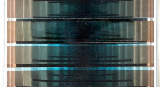 ADOLF LUTHER (1912-1990), 'Spiegelobjekt', sechs konkav gewölbte Spiegelstreifen vor einem Spiegel in Plexiglasrahmen, 25,5 x 25,5 x 7,5 cm