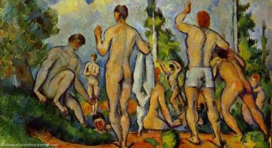 """Cezanne, Paul  Badende Impressionismus   Das Gemälde """"Badende"""" von Paul Cezanne als hochwertige, handgemalte Ölgemälde-Replikation. Originalformat: 50 x 60 cm. Quelle: www.oel-bild.de."""