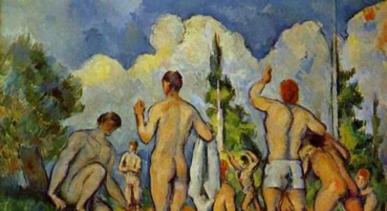 """Cezanne Paul - Cézanne Badende. Das Gemälde """"Badende um 1890"""", Paris, Musee d Orsay, von Paul Cezanne als hochwertige, handgemalte Ölgemälde-Replikation. Quelle: www.oel-bild.de."""