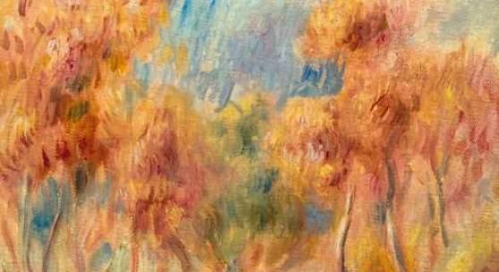 PIERRE-AUGUSTE RENOIR (Limoges 1841–1919 Cagnes-sur-Mer) L'allée d'arbres. Um 1900. Öl auf Leinwand. Unten rechts monogrammiert: AR. 33,5 × 26,5 cm. CHF 160 000 / 240 000   (€ 140 350 / 210 530)