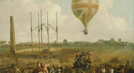 Julius Caesar Ibbetson: George Biggins Aufstieg in Lunardis Ballon, um 1785/1788 © Bayerische Staatsgemäldesammlungen München, Foto: Bruno Hartinger