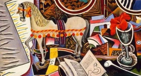 Joan Miró (1893-1983): Le cheval, la pipe et la fleur rouge (Das Pferd, die Pfeife und die rote Blume), 1920, Philadelphia Museum of Art, Philadephia