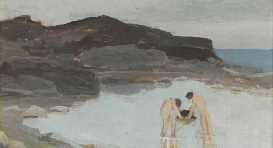 Ernesto Schiess Badende Knaben im See, 1913 Oel auf Malkarton, 40 x 53,5 cm Ref. U. 770