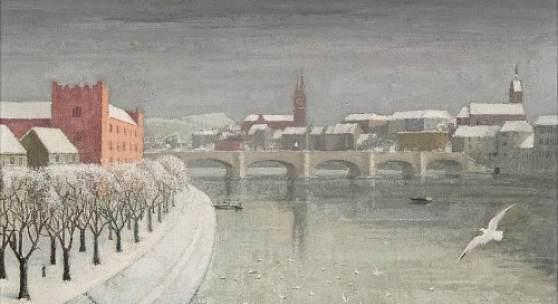 Mittlere Rheinbrücke mit Kaserne und Möwe, 1944