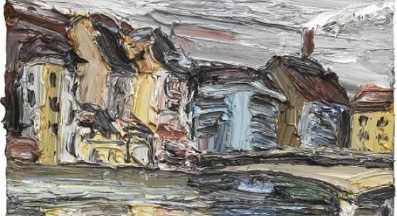 Christopher Lehmpfuhl  Basel am Abend, 2019  Oel auf Leinwand,30 x 40 cm Ref. Nr. 262