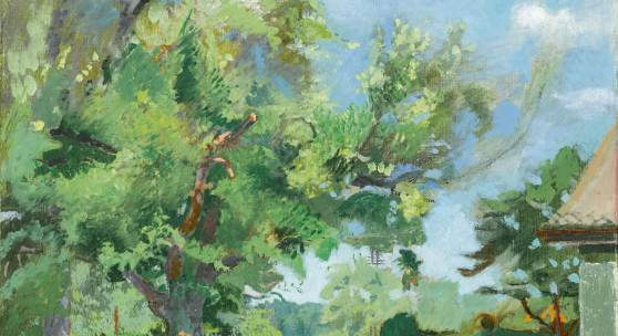 """Los 82 Cuno Amiet Obstgarten auf der Oschwand. Öl auf Leinwand, """"Garteneingang"""", 61x50 cm mgr. u. dat. (19)36 u.r., verso a.d. Keilrahmen bez. (Schätzpreis: CHF 75'000) ZUSCHLAG: 70'000"""